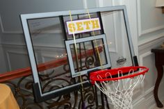 This basketball backboard was a great Bar Mitzvah sign-in board. | MitzvahMarket.com