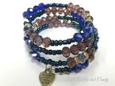 Purple and Navy Coil Beaded Bracelet by RandRsWristCandy on Etsy, $12.00