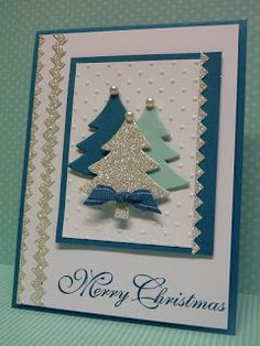 Sparkly chevrons with Tasteful Trim die - and holiday framelits. SU Greetings of the Season sentiment.