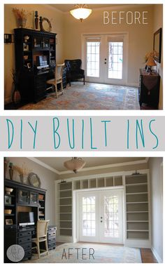 Creating built-ins with IKEA billy bookcases - Idea for living room window wall? Ikea Shelves, Window Shelves, Organizing Bookshelves, Book Shelves, Wall Shelves, Shelving, Home Reno, Diy Home Improvement, My Living Room