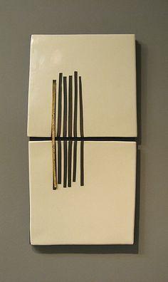 """Vertical Tracks""  Ceramic Wall Art  Created byLori Katz"