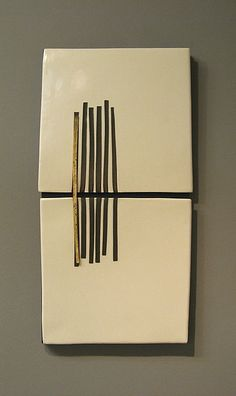 """Vertical Tracks"" Ceramic Wall Art Created byLori Katz"