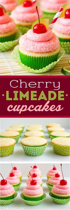All Time Easy Cake : Cherry Limeade Cupcakes - PERFECT taste combination! I love these cupcakes! Summer Cupcakes, Summer Desserts, Just Desserts, Delicious Desserts, Dessert Recipes, Summer Cupcake Flavors, Easter Cupcakes, Flower Cupcakes, Christmas Cupcakes