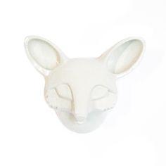 Fox mask. Hand built ceramic sculpture in earthenware by Aura Kajas 2015.