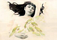 Todo un placer conocer a Eli m Rufat.  Esta preciosa ilustración, Little fishes, ya está en http://www.verdejade.es/ilustracion/eli-m-rufat/