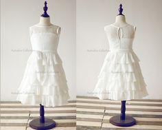 Ivory Lace Chiffon Flower Girl Dress Cupcake/Tiered by autoalive