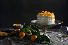 naked orange poppy seed cake with orange blossom frosting // anneka manning