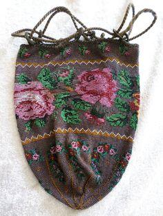Antique Victorian Micro Beaded Reticule Drawstring Floral Purse Hand Bag Satchel #Drawstring