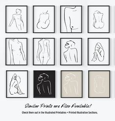 Minimal Line Drawing. Original Figure Drawing. Nude Woman. Abstract Line Contour. Nude Art Prints. Black and White Nude Figure. Line Art | Available @ The Peoples Prints @ www.etsy.com/shop/thepeoplesprints