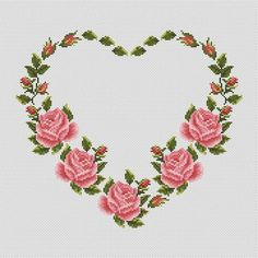 modern wedding Heart cross stitch pattern PDF Modern cross stitch Wreath stitch Flowers xstitch Floral embroidery P Monogram Cross Stitch, Cross Stitch Heart, Simple Cross Stitch, Cross Stitch Flowers, Easy Cross, Modern Cross Stitch Patterns, Counted Cross Stitch Patterns, Cross Stitch Embroidery, Hand Embroidery
