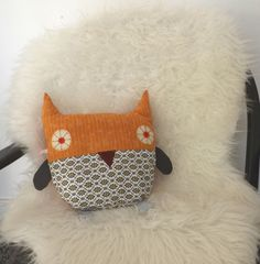 Owl  Pillow  Plushie in Retro  Floral and  by littleteawagon