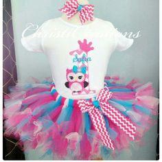 Owl birthday tutu set Adorable comes in all sizes imake Skirts