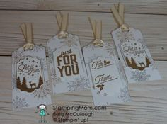 Stampin Up Merry Little Labels Christmas tags designed by demo Beth McCullough. Please see more card and gift ideas at www.StampingMom #StampingMom #cute&simple4u