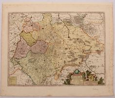 Baroque map of Saxony, Germany by P.Mortier in circa 1700