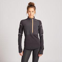 Hardloopshirt met lange mouwen dames Kiprun Warm regular winter zwart/koraalrood Laufen Im Winter, Coach Sportif, Sport Outfit, Coral, Tee Shirts, Tees, Courses, Warm, Zip