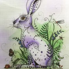 Digitally printed on fabric for you to paint or embroider. Embroidery Cards, Free Machine Embroidery, Embroidery Files, Embroidery Patterns, Doodle Books, Painted Bags, Ink Stamps, Animal Cards, Free Motion Quilting