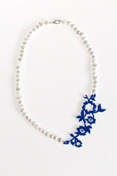 Acrylic Flower Vine and Freshwater Pearl Necklace- Navy blue acrylic flower vine is strung amongst a strand of freshwater pearls. Classic pearls are given a contemporary look by combining with striking blue or purple acrylic. Acrylic Flowers, Laser Cut Acrylic, Flowering Vines, Freshwater Pearl Necklaces, Purple, Navy Blue, Fresh Water, Jewelry Collection, Turquoise Necklace