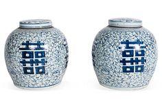 Light Blue & White Flat-Top Jars, Pair, Retail $1200, Sale $599