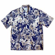 Sweet Pineapple Blue Hawaiian Cotton Shirt