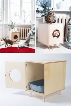 10 Ideas For Hiding Your Cat Litter Box // This modern litter box cover provides a stylish place for your cats and doubles as a convenient side table. Veja aqui este link >> http://www.universodegatos.com/como-educar-gatos/ ~ Quando adotamos um gatinho devemos ter em conta alguns materiais a escolher, como por exemplo, a alimentação, a areia de gato, os brinquedos mas o principal é o seu espaço! Partilhamos neste album algumas ideias! :D