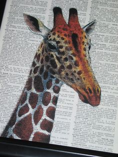 Giraffe Art Print Giraffe Dictionary Print by HamiltonHousePrints, $8.00