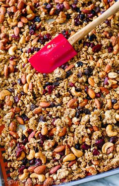 Trail Mix Granola on sallysbakingaddiction.com Sweet, healthy, snacky, easy, addicting!