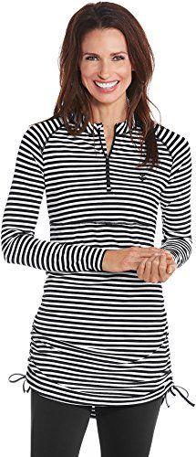 3564e8cf336f1 Coolibar UPF 50+ Women's Ruche Swim Shirt - Sun Protective at Amazon  Women's Clothing store: Maternity ...