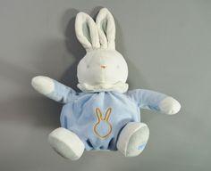 Doudou lapin boule velours bleu et blanc Klorane garçons in Bébé, puériculture, Peluches, doudous | eBay