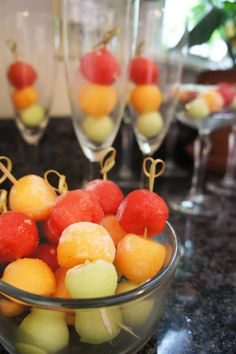Fruit skewers in cha