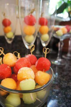 Fruit skewers in cha