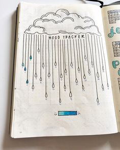 Bullet journal monthly mood tracker,  cloud drawing, raindrops drawing. | @fi.bujo