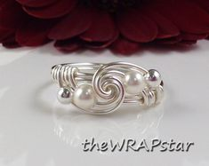 Pearl Ring Wire Wrapped Jewelry Handmade Wire Ring by theWRAPstar