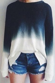Gradient Color Chic Long Sleeves Cropped Knit Sweater from mobile - US$19.95 -YOINS