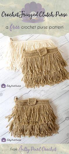 Crochet Fringe Clutch Purse Pattern Free • Salty Pearl Crochet
