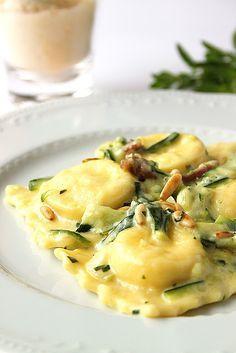 Buffalo Ricotta Ravioli with Zucchini, Prosciutto and Mascarpone by lacuocadentero #Ravioli #Zucchini #Prosciutto