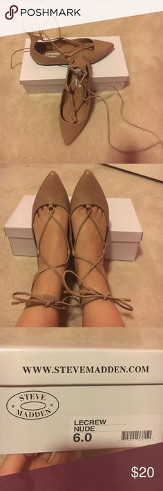"""Steve Madden """"LeCrew"""" flat Great condition, worn once, Steve Madden lace up ballet flat, nude, women's size 6 Steve Madden Shoes Flats & Loafers"""