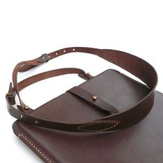 iPad brown genuine leather sleeve with strap