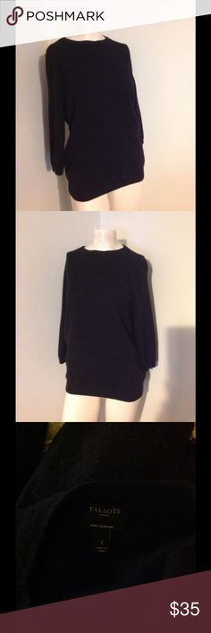 "Talbots Cashmere Black Sweater X Very pretty pure cashmere Talbots black sweater. Listed as size X. According to their size chart it is a size 12 - one step below a 1X (which is a 14 16) Please check the measurements. Chest 39"" Length 25 1/2"" Across the bottom 16"" Talbots Sweaters"