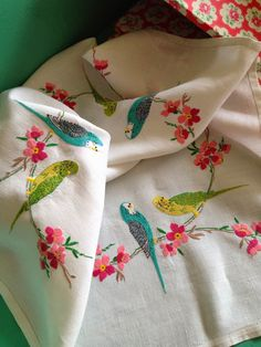 Gorgeous embroidered budgerigar tablecloth