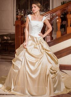 Ball-Gown Strapless Square Neckline Chapel Train Taffeta Wedding Dress With Ruffle Lace Beadwork