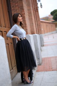 I've been wanting a tulle skirt... I would definitely wear it like this!