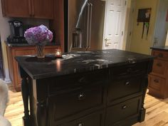 New Black Island with  very deep drawers