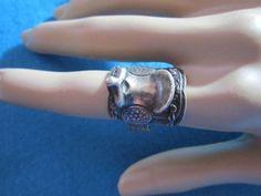 REDUCED ~ Ready for sale   Sterling Silver Signed Bell Horse Saddle Ring Etched Designer Vintage | eBay