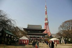Zojoji Temple with Tokyo Tower in Background Japanese Buddhism, Tokyo Tower, Temple, Travel, Viajes, Temples, Destinations, Traveling, Trips