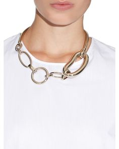 Balenciaga   Gold Oval Chain-Link Brass Necklace   Lyst