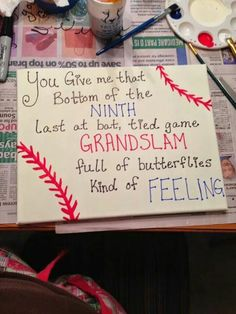 yes but write it around the baseball not on a canvas