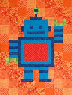 Robot Quilt Design - would be better with a gray background