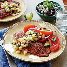 Tilapia with Pineapple Salsa and Tomato-Avocado Salad | Cooking Light #myplate #protein #veggies