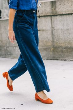 wide denim pants and denim shirt with low heels...