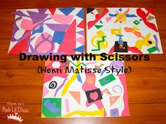 Mom to 2 Posh Lil Divas: Kids Get Arty - Drawing with Scissors like Henri Matisse Henri Matisse, Matisse Art, Matisse Drawing, Kindergarten Art, Preschool Art, Preschool Themes, Montessori Art, Artist Project, Ecole Art